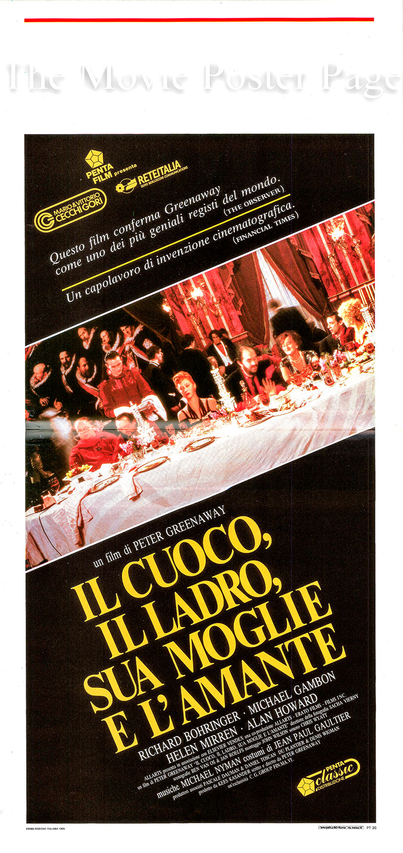 pictured is an Italian locandina poster for the 1989 Peter Greenaway film The Cook, the Thief, His Wife and Her Lover starring Helen Mirren as Georgina.