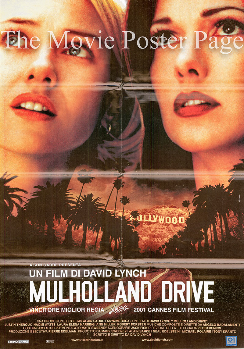 Pictured is an Italian two-sheet poster for the 2001 David Lynch film Mulholland Drive starring Naomi Watts as Betty.