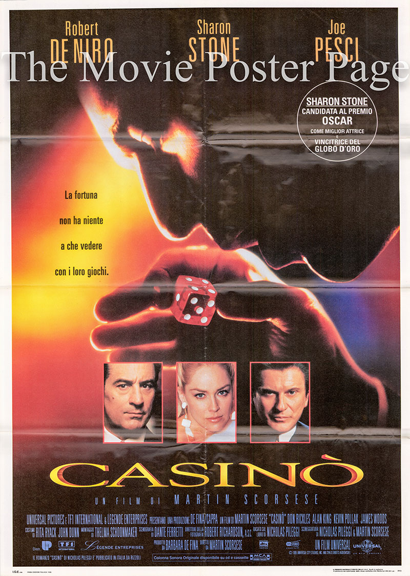 Pictured is an Italian two-sheet poster for the 1995 Martin Scorcese film Casino starring Robert De Niro.