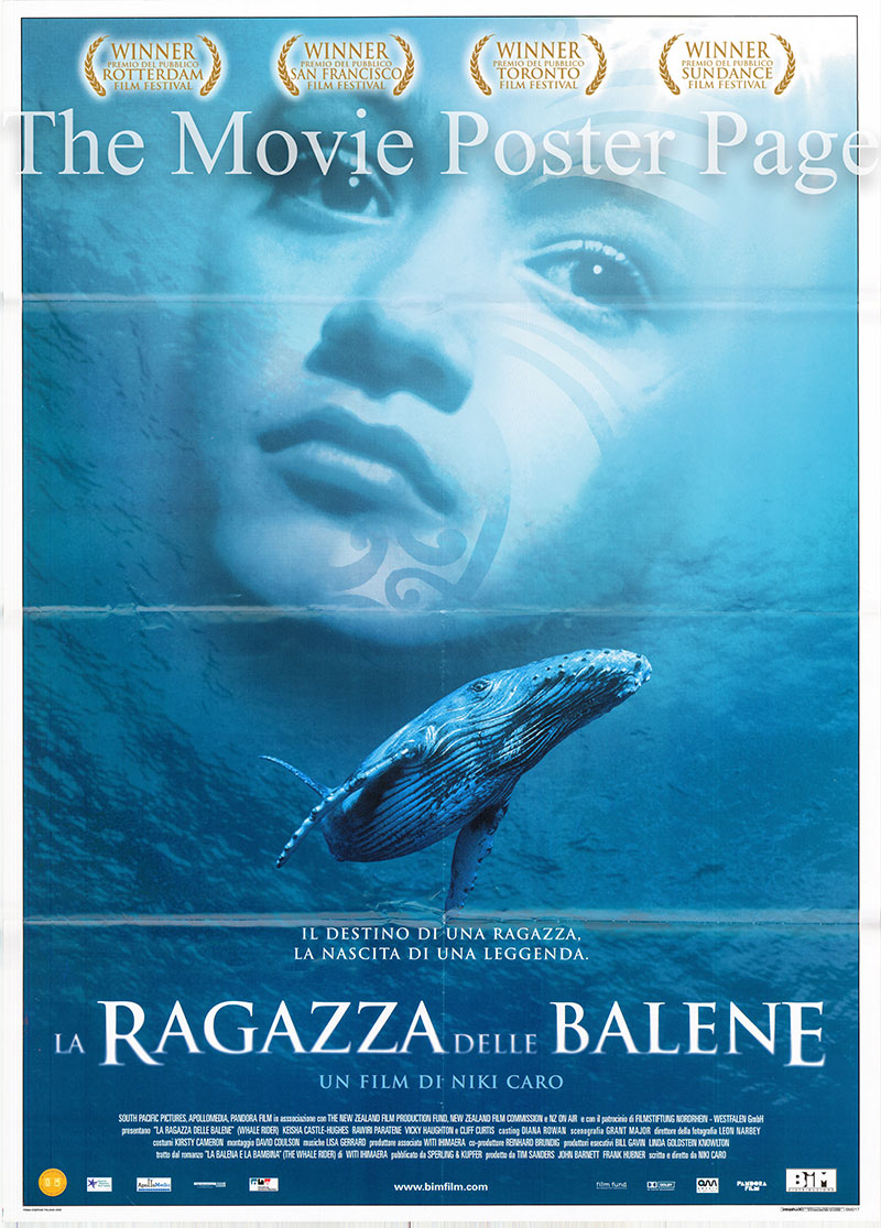 Pictured is an Italian two-sheet poster for the 2002 Niki Caro film Whale Rider starring Keisha Castle-Hughes as Paikea.
