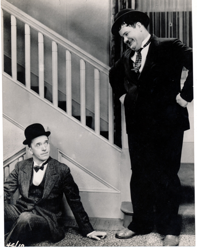 Pictured is a US promotional still photo from the 1929 Hal Roach film Unaccustomed as We Are starring Stan Laurel and Oliver Hardy.