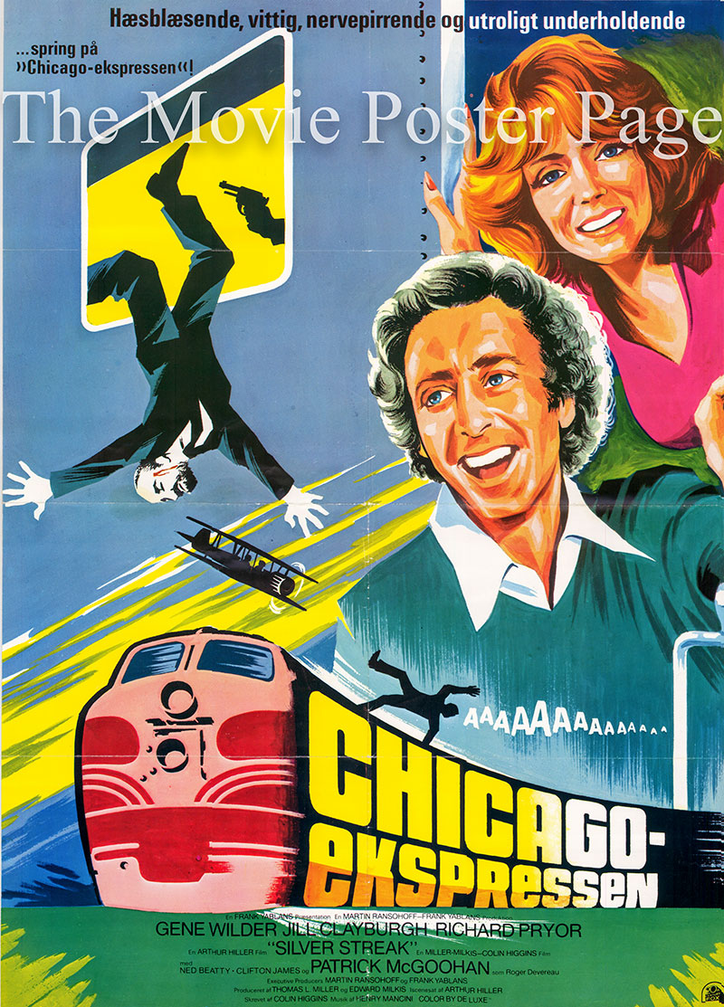 Pictured is a Danish one-sheet poster for the 1976 Arthur Hiller film Silver Streak starring Gene Wilder as George Caldwell.