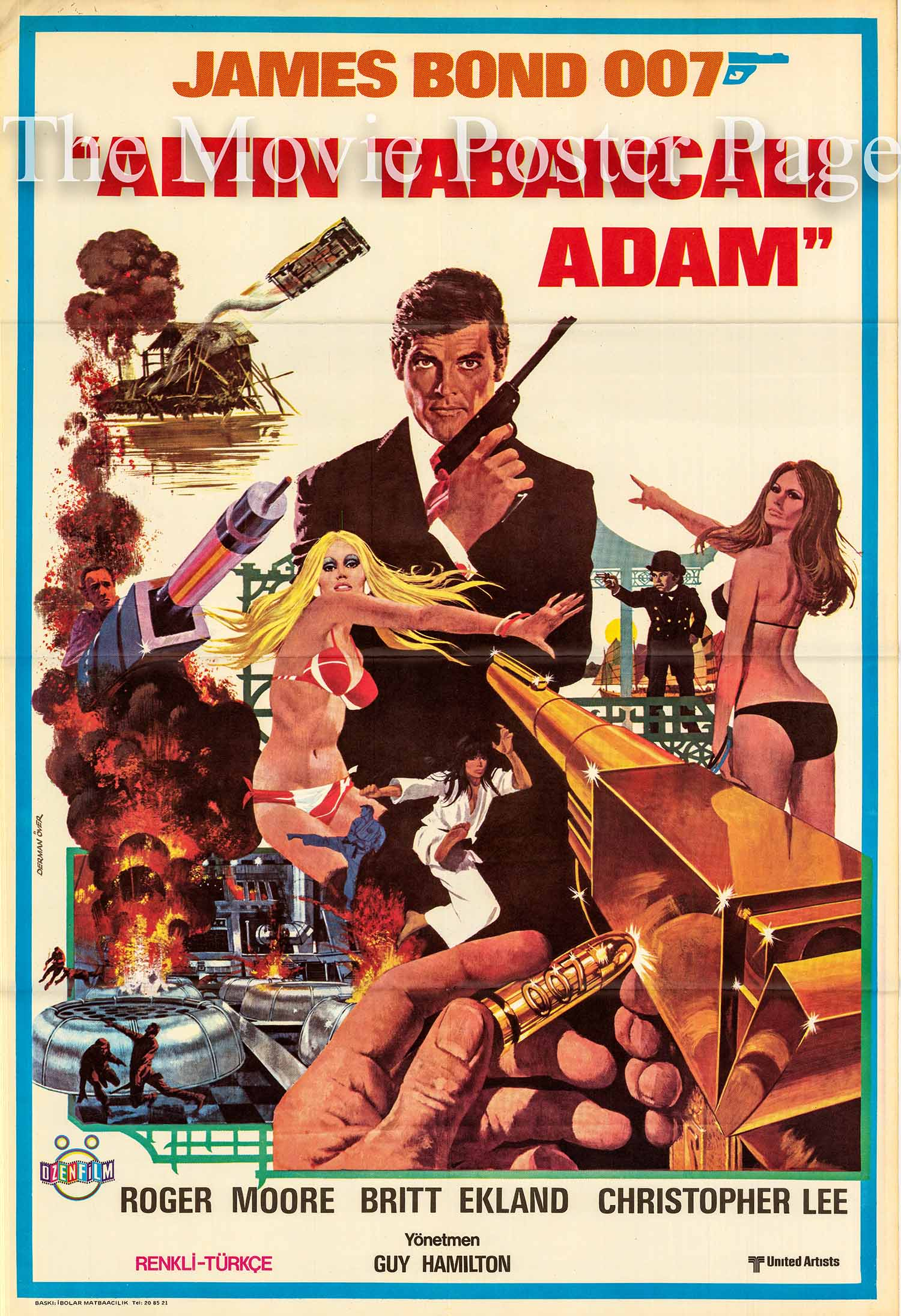 Pictured is a Turkish promotional poster for the 1974 Guy Hamilton film The Man with the Golden Gun starring Roger Moore as James Bond.