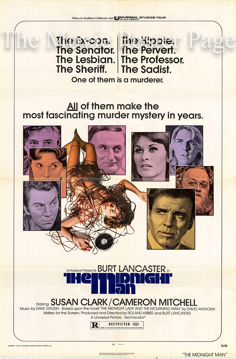 Pictured is a US one-sheet poster for the 1974 Roland Kibbee film The Midnight Man starring Burt Lancaster as Jim Slade.