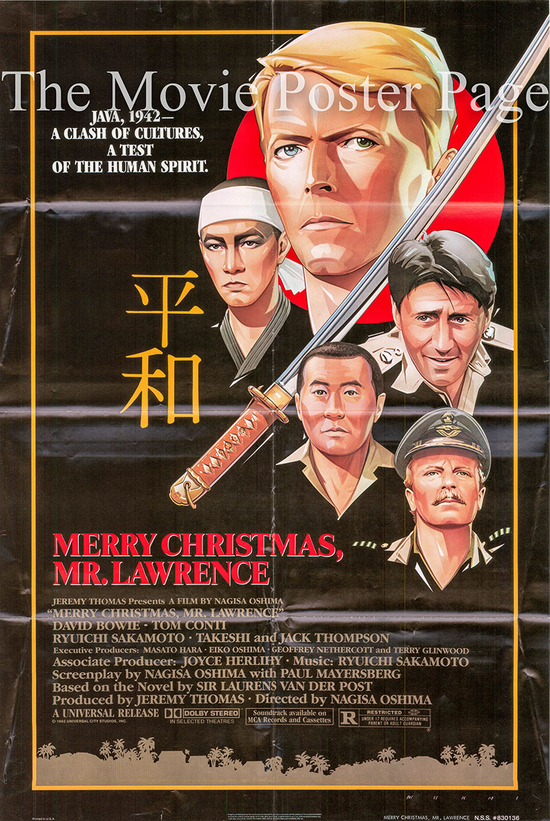 Pictured is a US one-sheet poster for the 1983 Nagisa Oshima film Merry Christmas, Mr. Lawrence starring David Bowie as Major Jack Celliers.