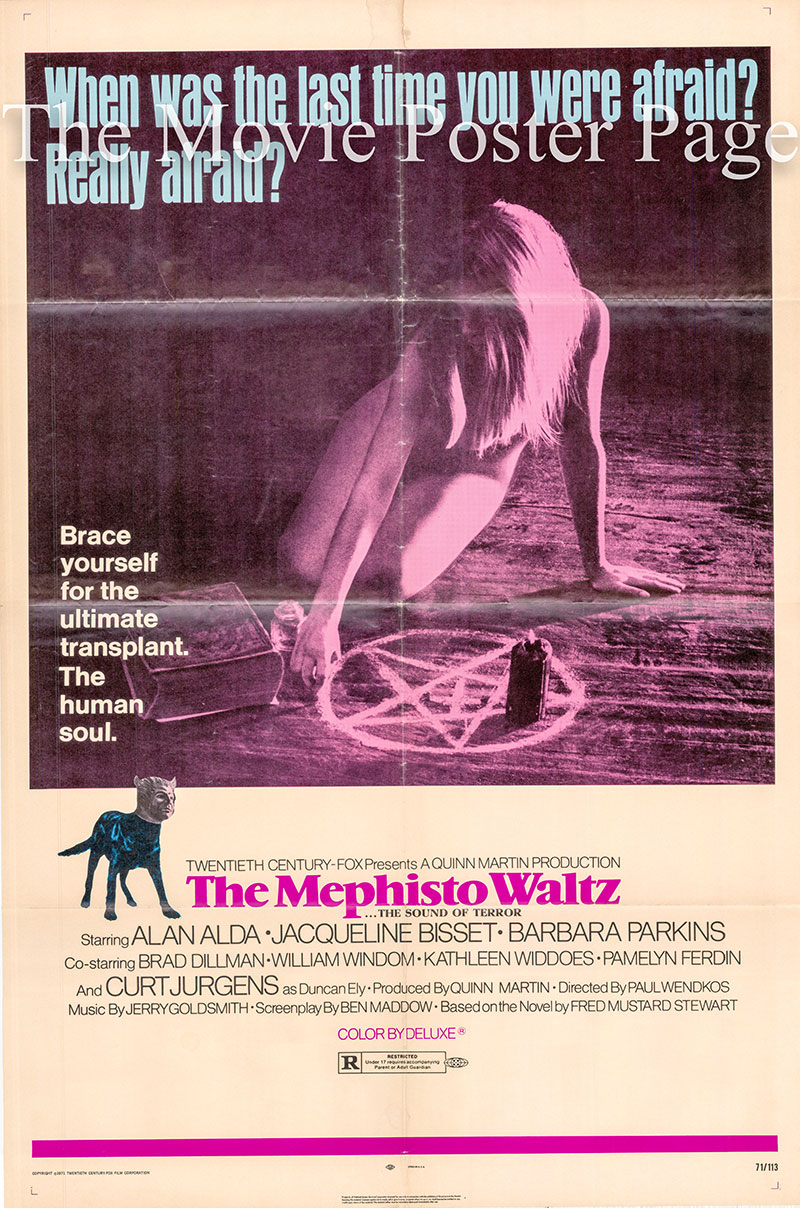 Pictured is a US one-sheet poster for the 1971 Paul Wendkos film Mephisto Waltz starring Alan Alda.
