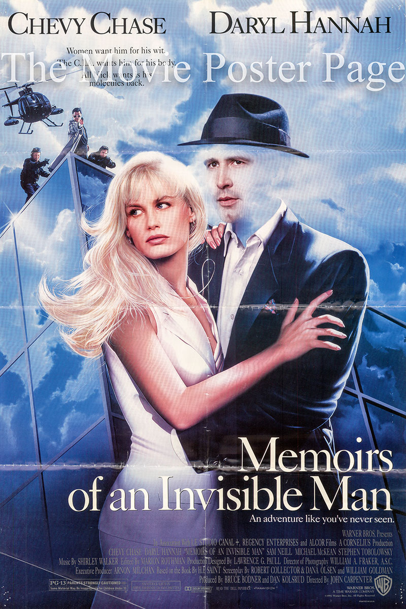Pictured is a US one-sheet poster for the 1992 John Carpenter film Memoirs of an invisible man starring Chevy Chase.