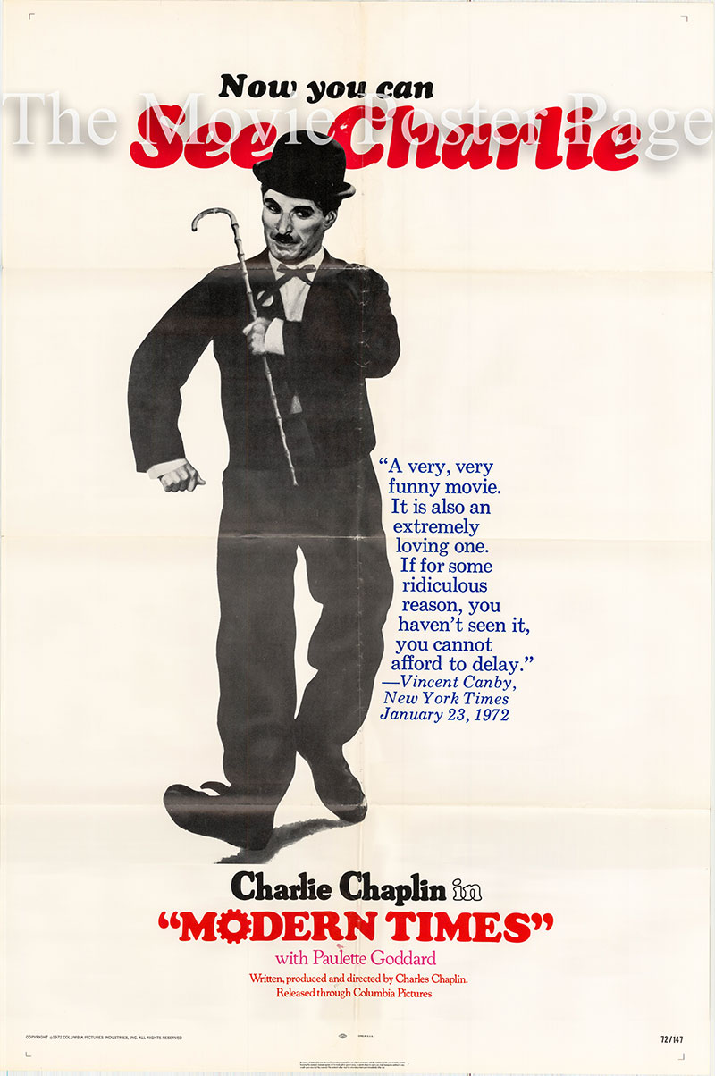 Pictured is a 1972 rerelease poster for the 1936 Charles Chaplin film Modern Times starring Charles Chaplin and Paulette Goddard.
