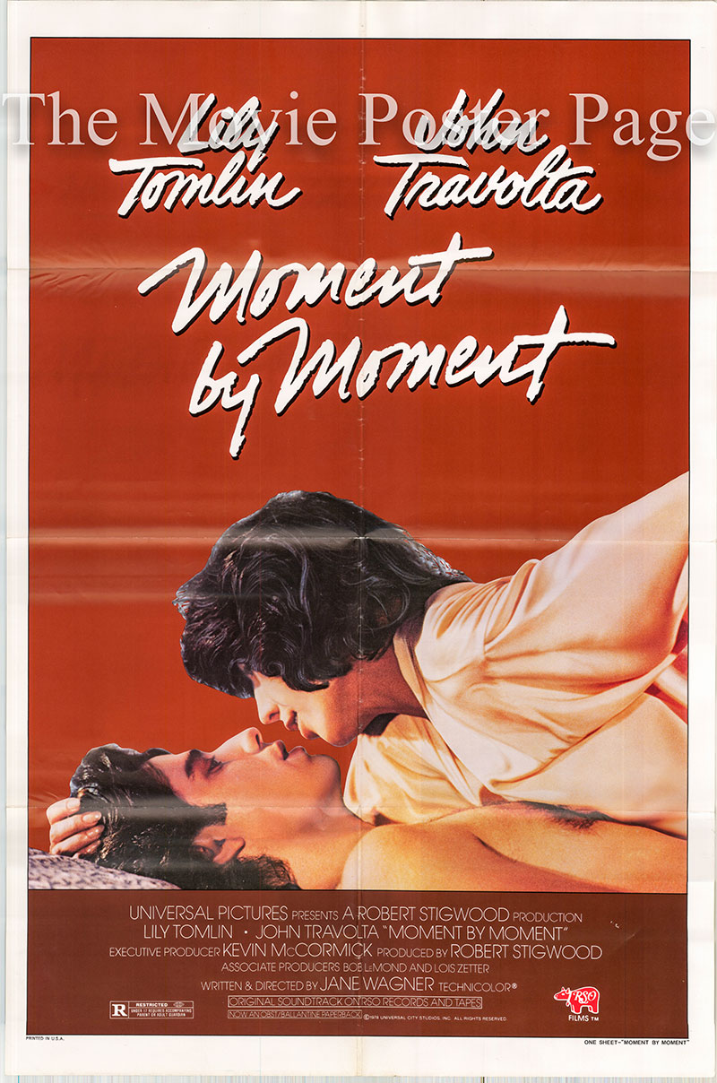 Pictured is a US one-sheet poster for the 1978 Jane Wagner film Moment by Moment starring John Travolta as Strip and Lily Tomlin as Trisha.