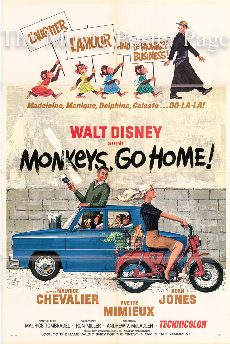 Pictured is a US one-sheet poster for the 1967 Andrew V. McLaglen film Monkeys, Go Home, starring Maurice Chevalier as Father Sylvain.