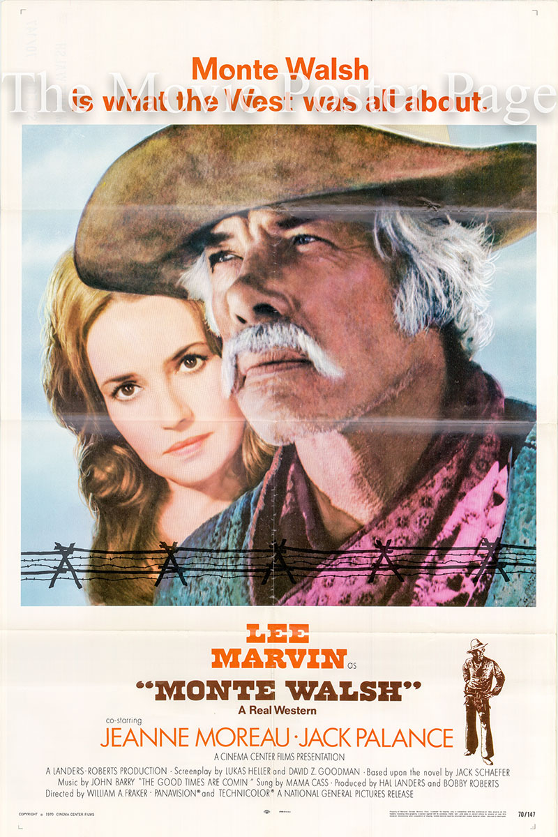 Pictured is a US one-sheet promotional poster for the 1970 William A. Fraker film Monte Walsh starring Lee Marvin.
