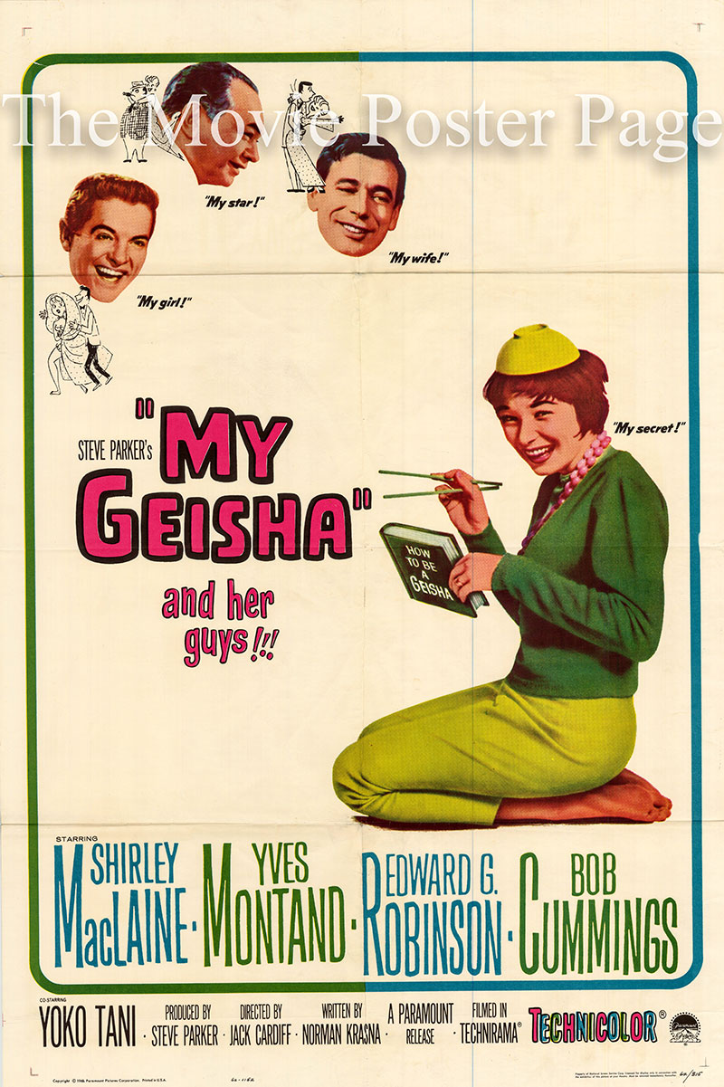 Pictured is a US one-sheet poster for the 1962 Jack Cardiff film My Geisha starring Shirley MacLaine.
