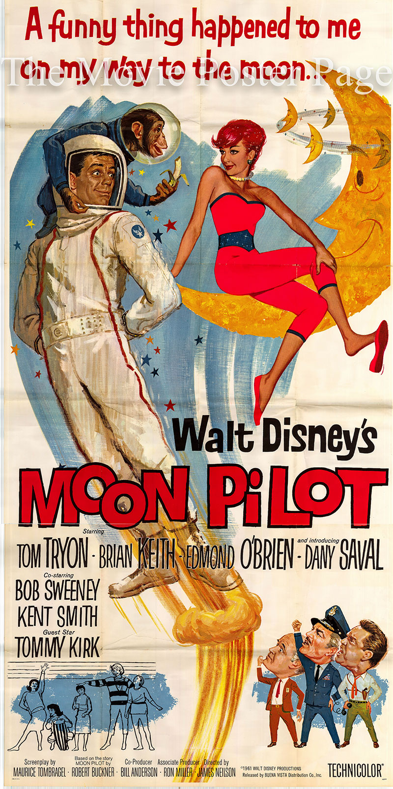 Pictured is a us three-sheet poster for the 1962 James Neilson film Moon Pilot starring Tom Tryon as Captain Richmond Talbot.