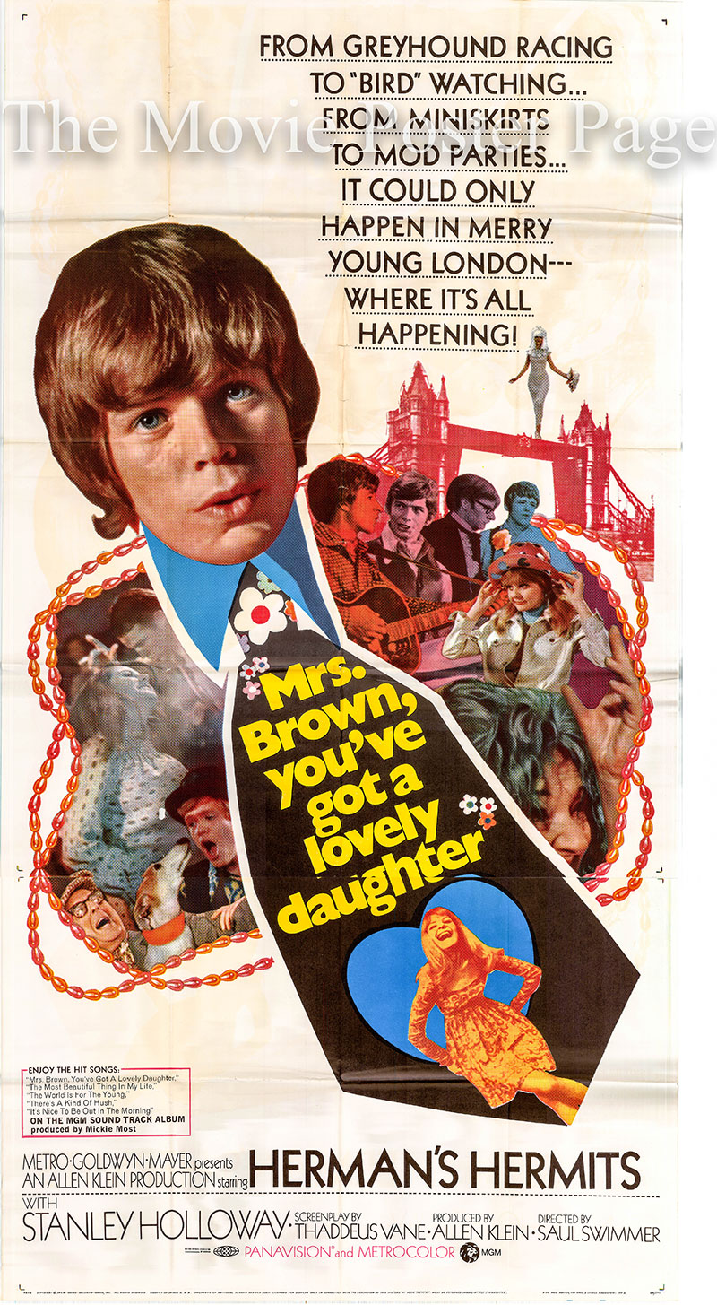 Pictured is a US three-sheet poster for the 1968 Saul Swimmer film Mrs. Brown You've Got a Lovely Daughter, starring Herman's Hermits.