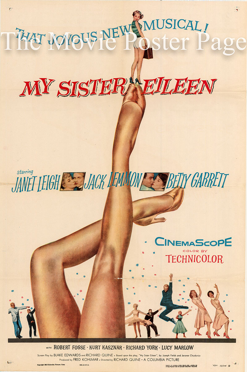 Pictured is a US one-sheet poster for the 1955 Richard Quine film My Sister Eileen starring Janet Leigh.