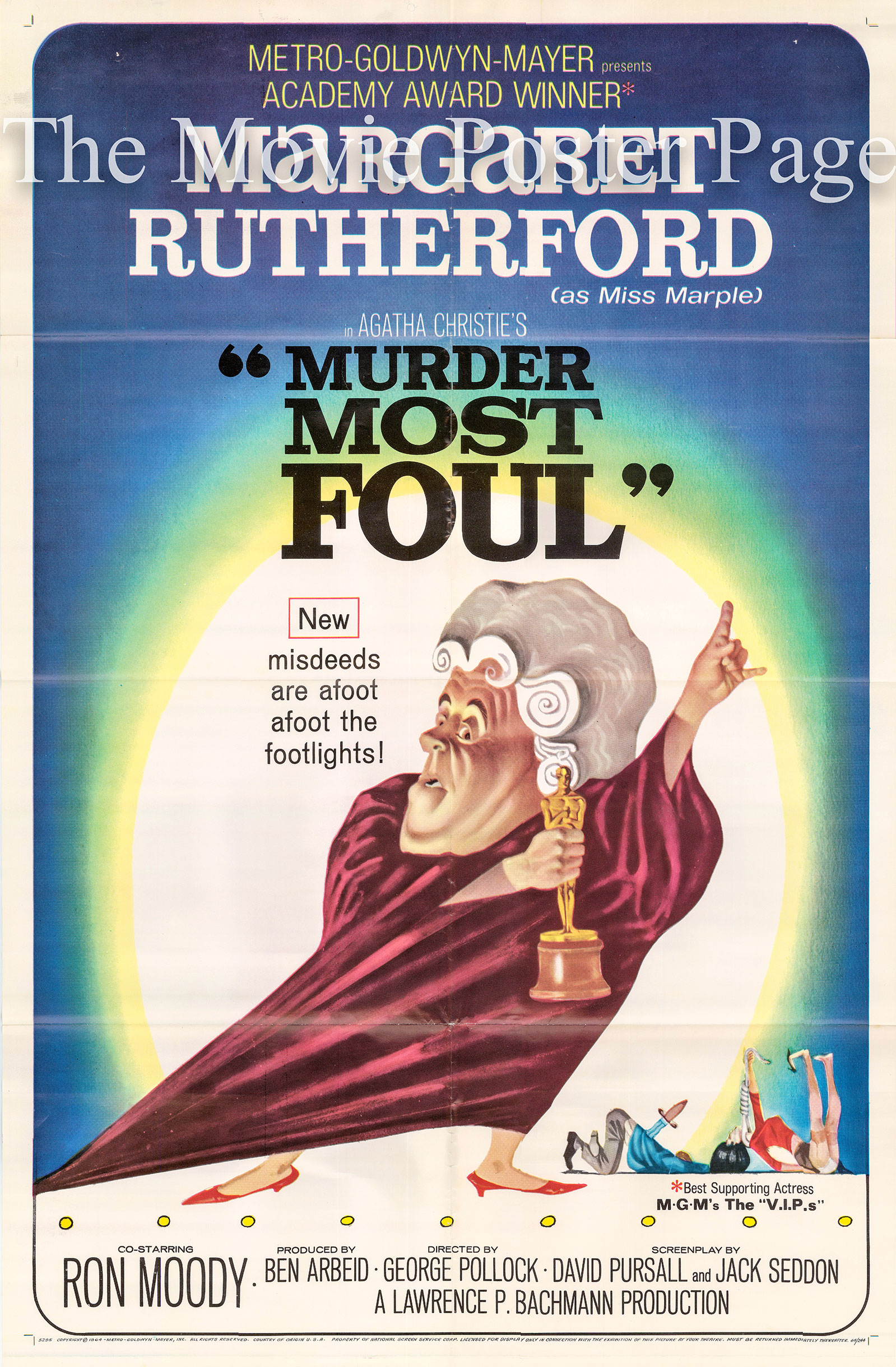 Pictured is a US one-sheet promotional poster for the 1964 George Pollock film Murder Most Foul starring Margaret Rutherford as Miss Jane Marple.