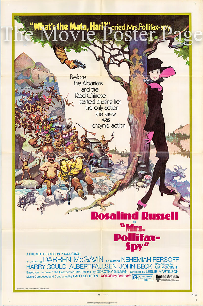 Pictured is a US one-sheet poster for the 1971 Leslie H. Martinson film Mrs. Pollifax-Spy starring Rosalind Russell as Mrs. Pollifax.