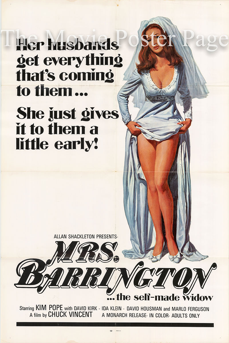 Pictured is a US one-sheet poster for the 1972 Chuck Vincent film Mrs. Barrington starring Kim Pope.