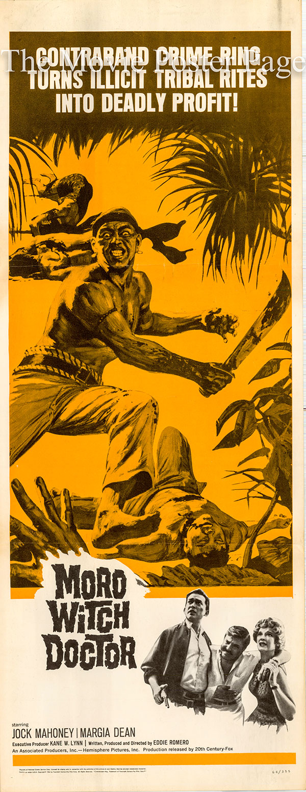 Pictured is a US insert poster for the 1964 Eddie Romero film Moro Witch Doctor starring Jock Mahoney.