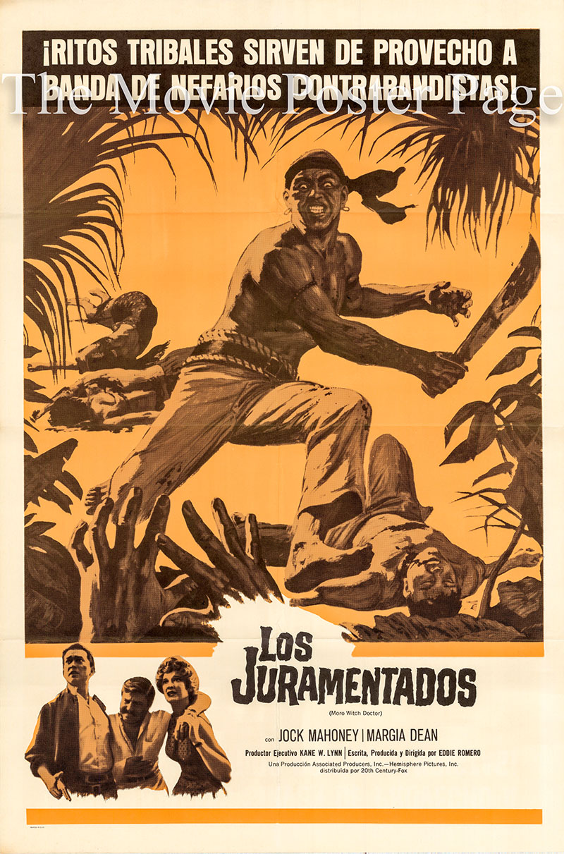 Pictured is a Spanish one-sheet poster for the 1964 Eddie Romero film Moro Witch Doctor starring Jock Mahoney.