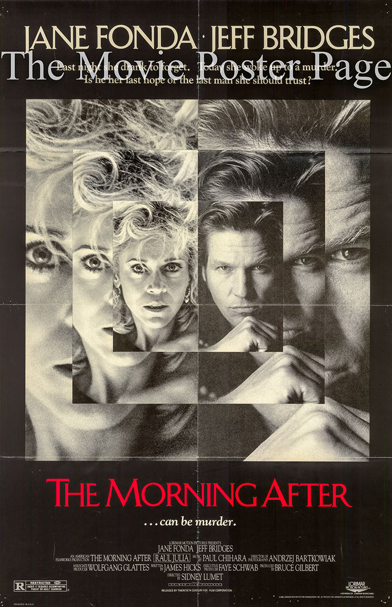 Picture4d is a US one-sheet poster for the 1986 Sidney Lumet film The Morning After starring Jane Fonda.