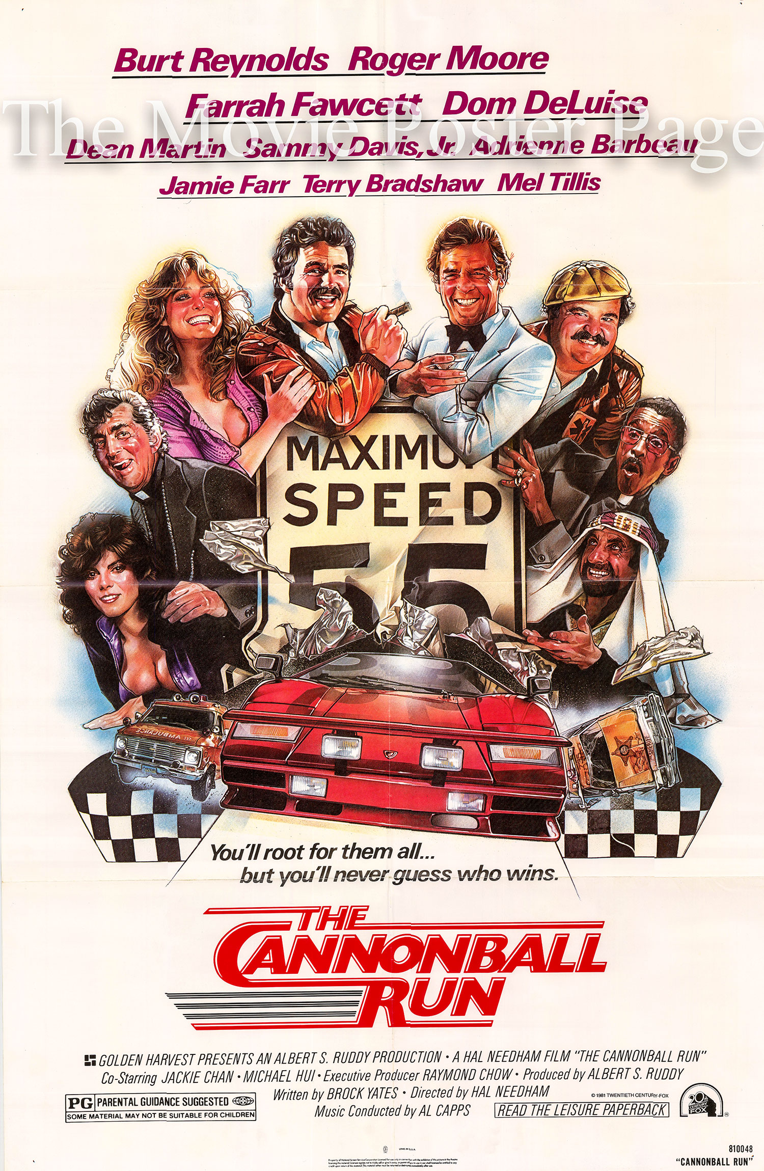 Pictured is a US one-sheet poster for the 1981 Hal Needham film Cannonball Run starring Burt Reynolds.