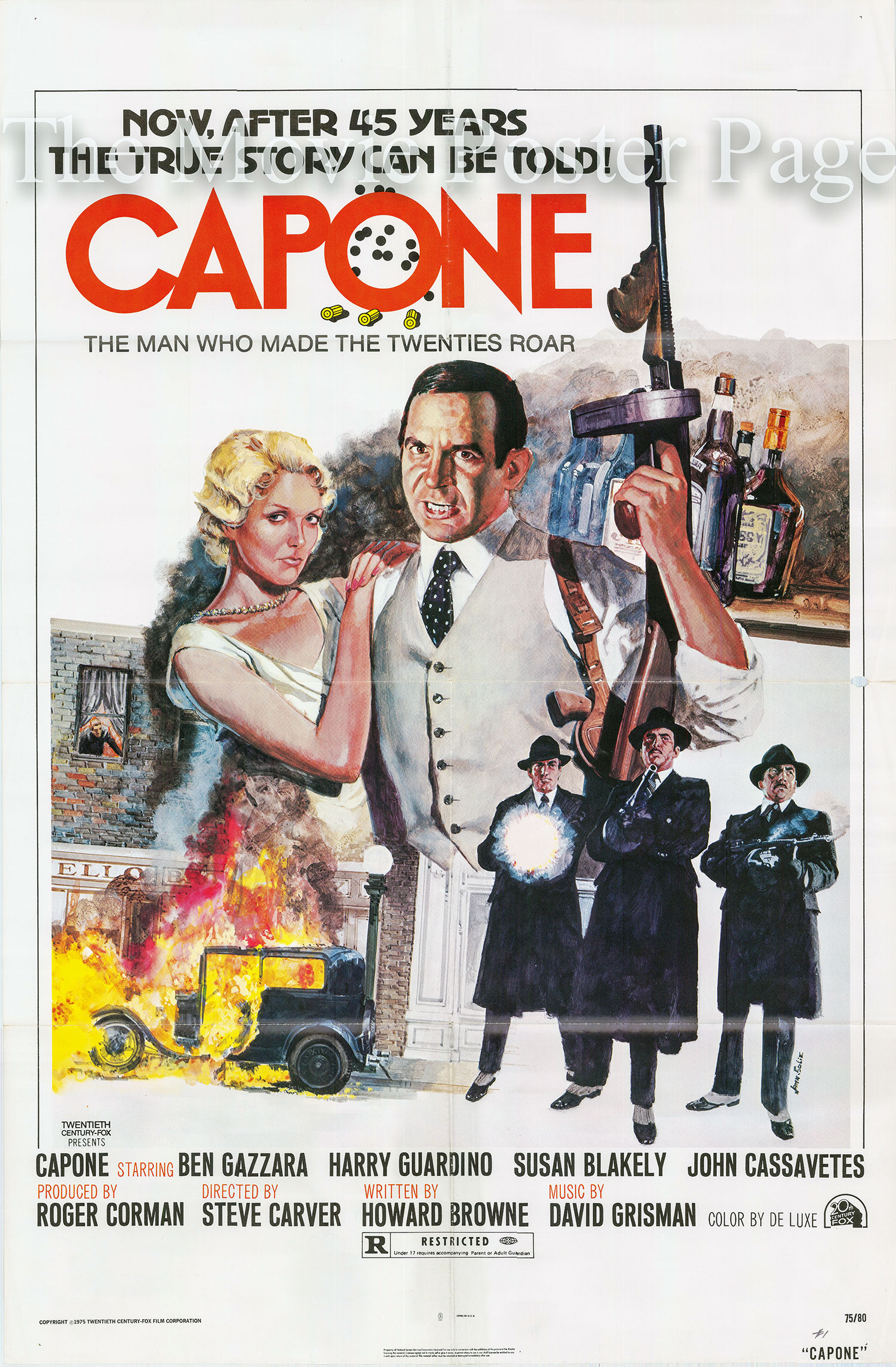 Pictured is a US promotional one-sheet poster for the 1975 Steve Carver film Capone starring Ben Gazzara.