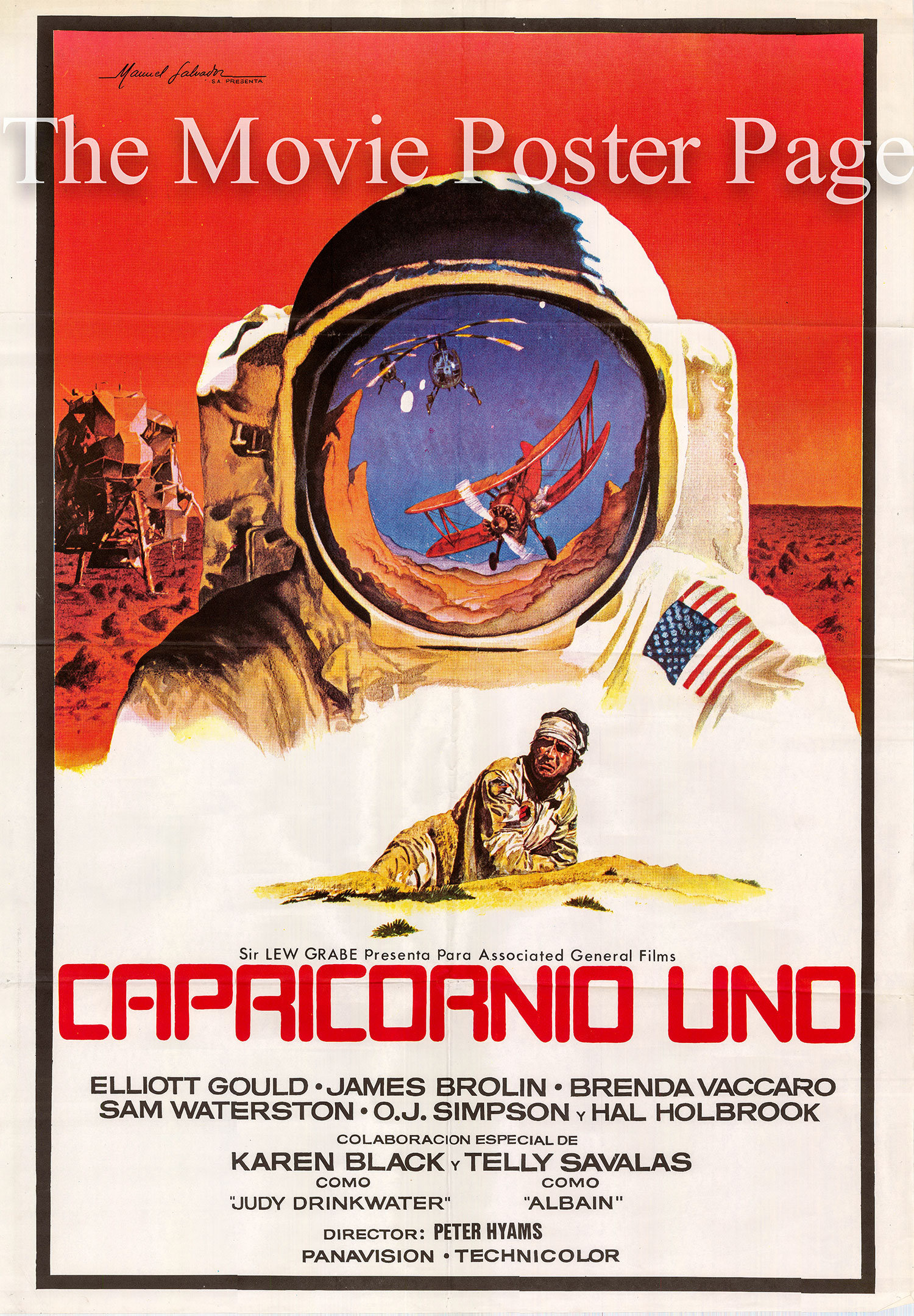 Pictured is a Spanish one-sheet poster for the 1978 Peter Hyams film Capricorn One starring Elliott Gould.