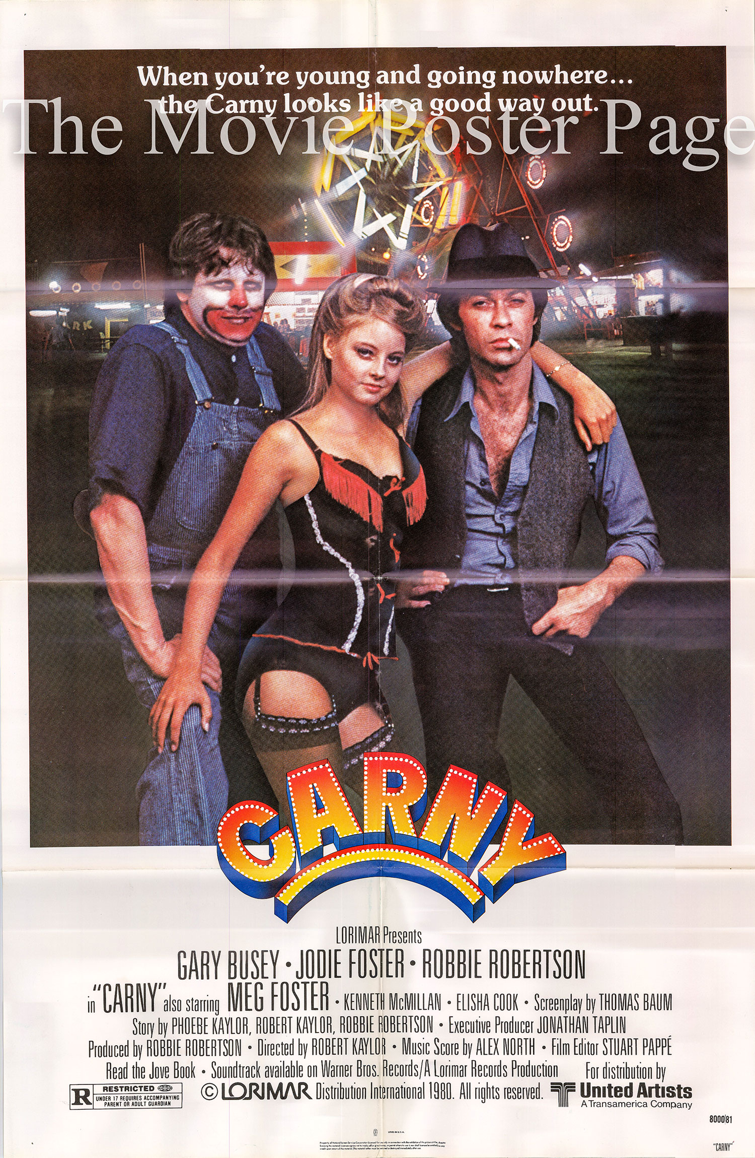 Pictured is a US one-sheet poster for the 1980 Robert Kaylor film Carny starring Gary Busey.