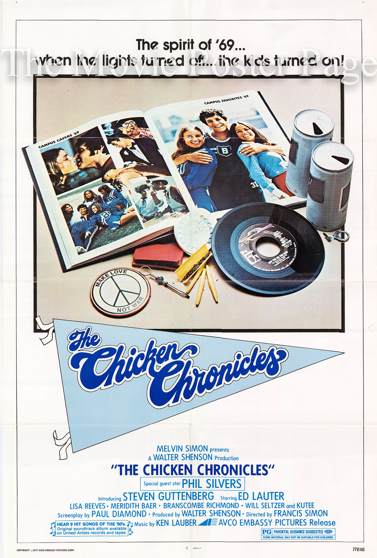 Pictured is a US promotional poster for the 1977 Francis Simon film The Chicken Chronicles starring Steve Guttenbert.