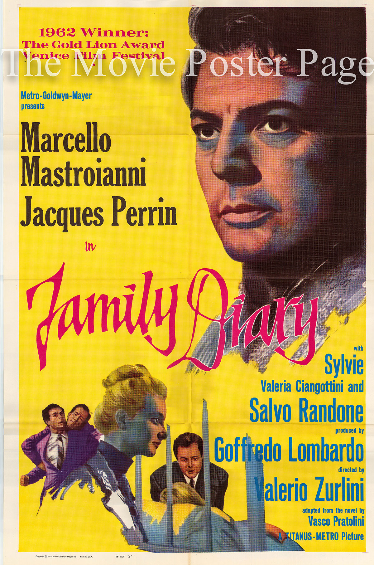 Pictured is a US one-sheet for the 1962 Valerio Zurlini film Family Diary starring Marcello Mastroianni as Enrico.