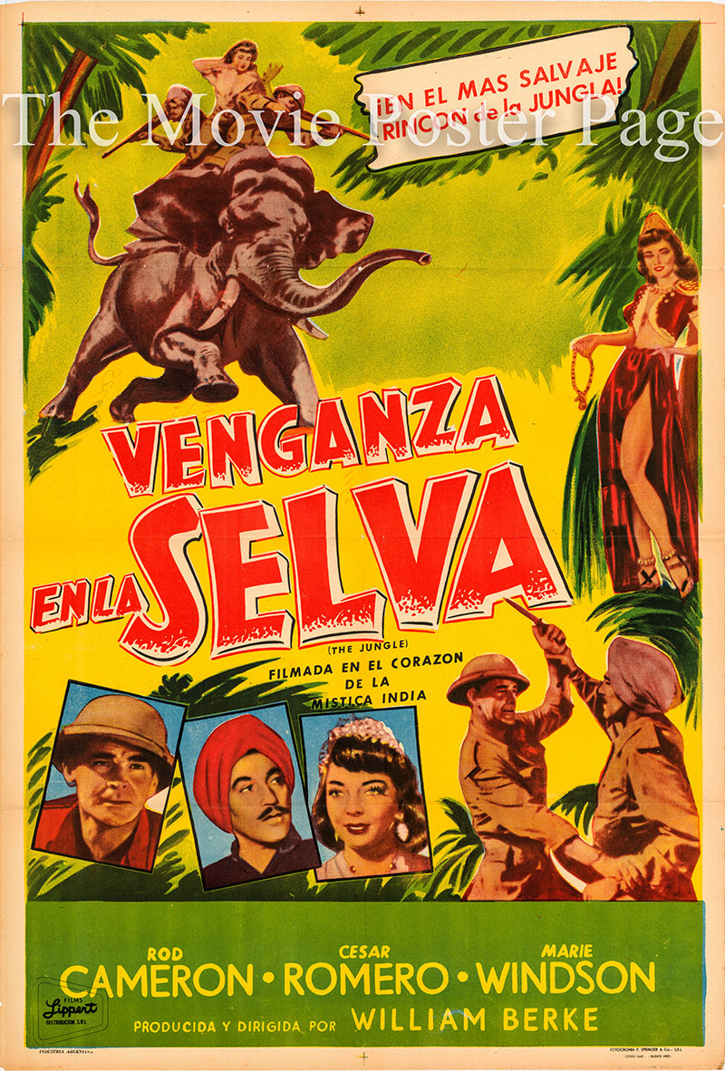 Pictured is an Argentine promotional poster for the 1952 William Berke film The Jungle starring Rod Cameron.