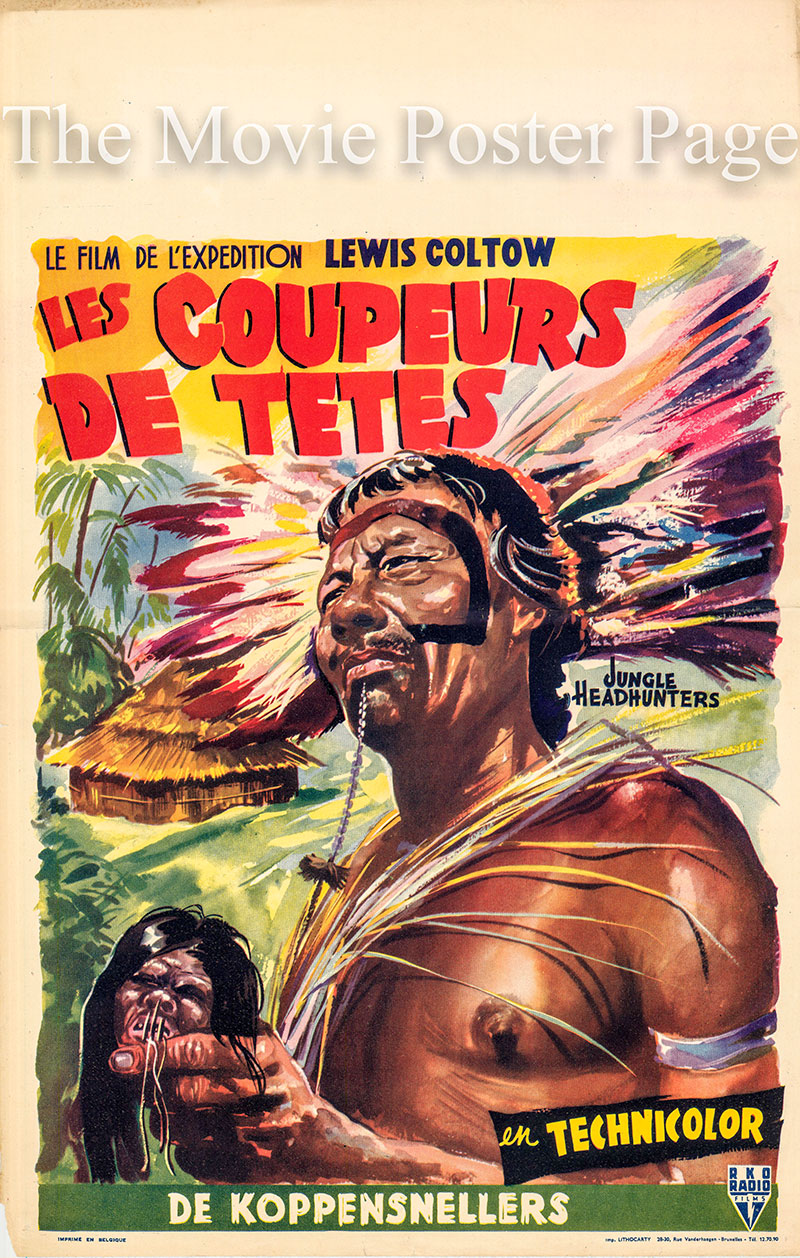 Pictured is a Belgian promotional poster for the 1951 Thalia Productions documentary film Jungle Headhunters.