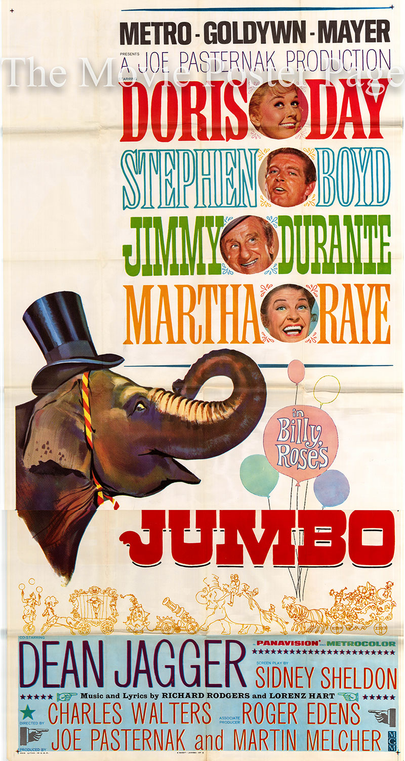 Pictured is a US three-sheet poster for the 1962 Charles Walters film Jumbo starring Doris Day as Kitty Wonder.