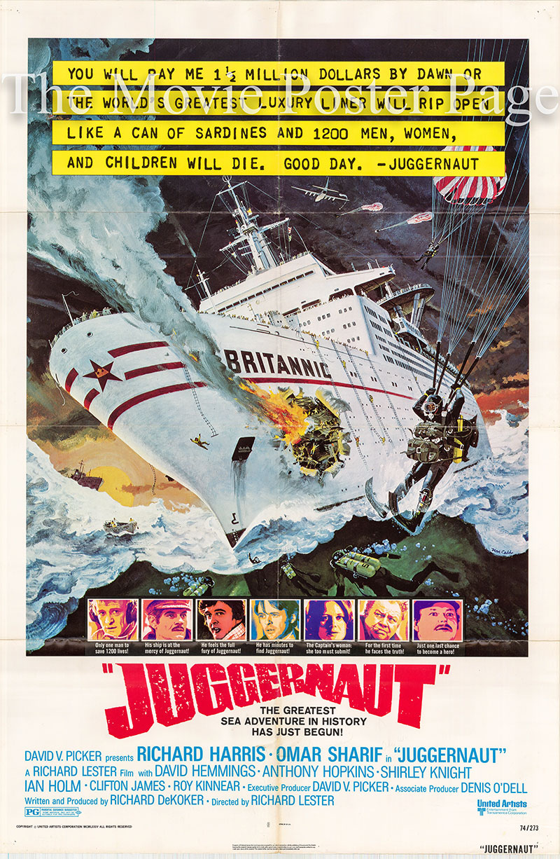 Pictured is a US one-sheet poster for the 1974 Richard Lester film Juggernaut starring Richard Harris as Lt. Commander Anthony Fallon.