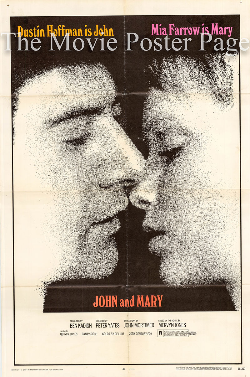 Pictured is a US one-sheet poster for the 1969 Peter Yates film John and Mary starring Dustin Hoffmann and Mia Farrow.