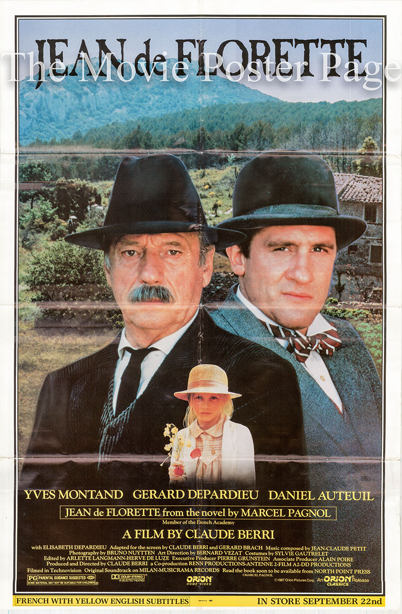 Pictured is a US video one-sheet for the 1986 Claude Berri film Jean de Florette starring Gerard Depardieu as Jean de Florette.