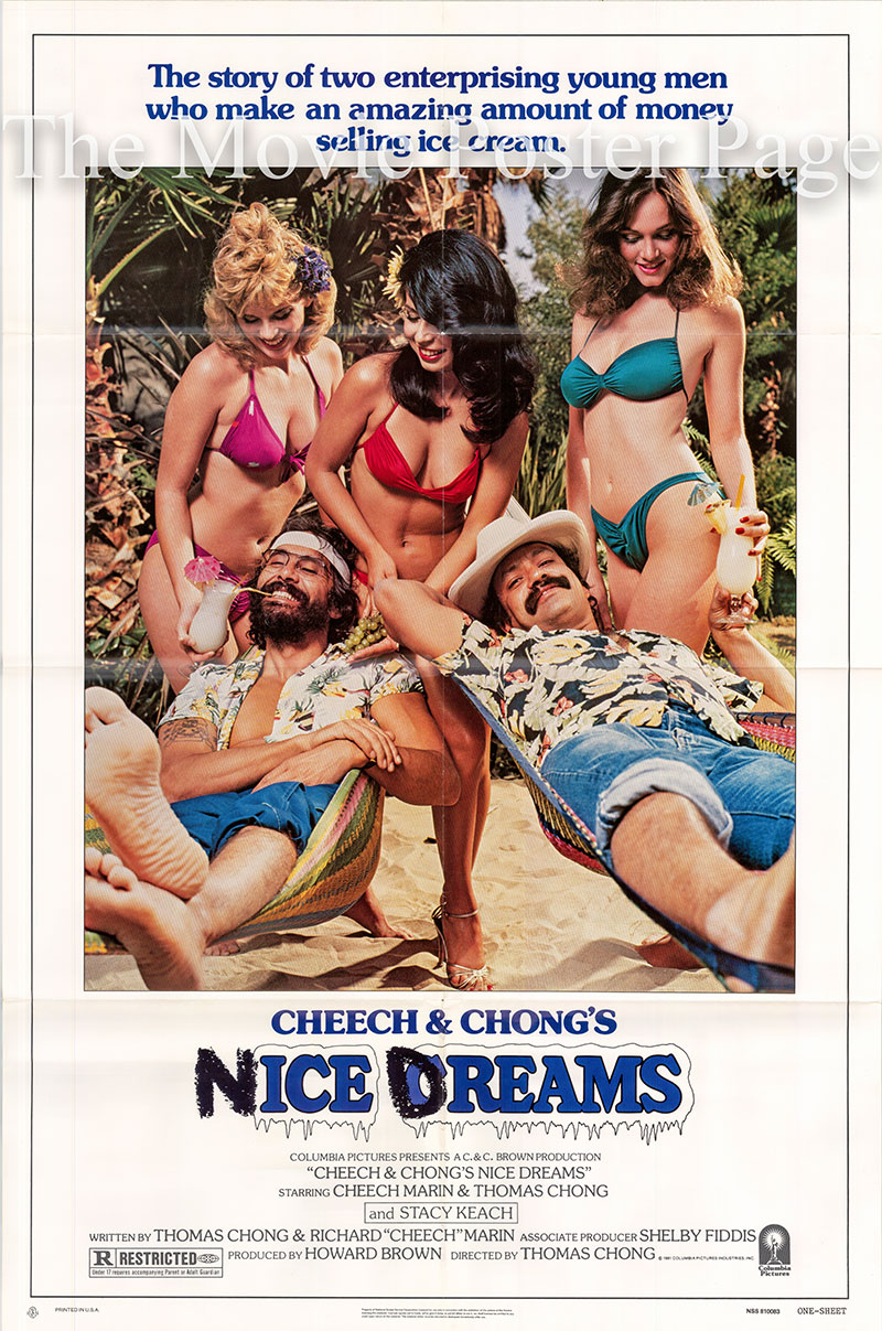 Pictured is a US promotional one-sheet poster for the 1981 Thomas Chong film Nice Dreams starring Cheech and Chong.