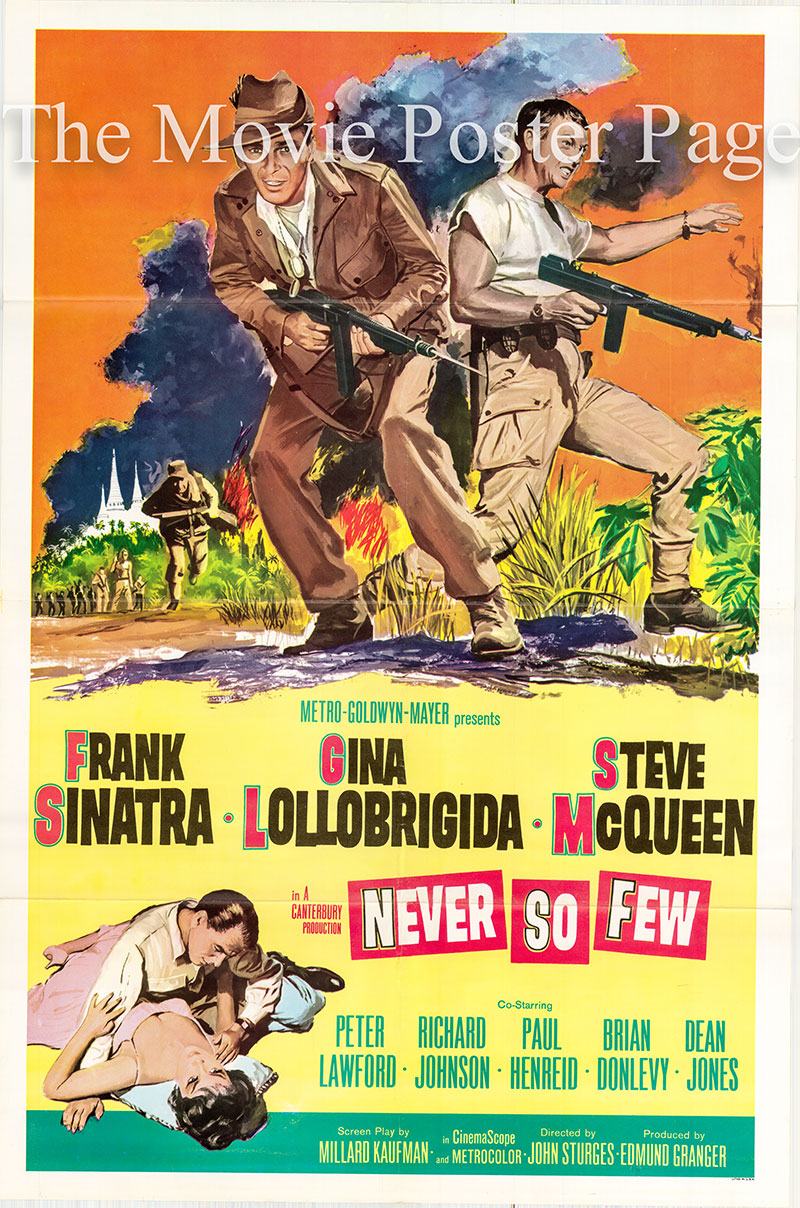 Pictured is a US promotional poster for the 1959 John Sturges film Never So Few starring Frank Sinatra as Captain Tom Reynolds.