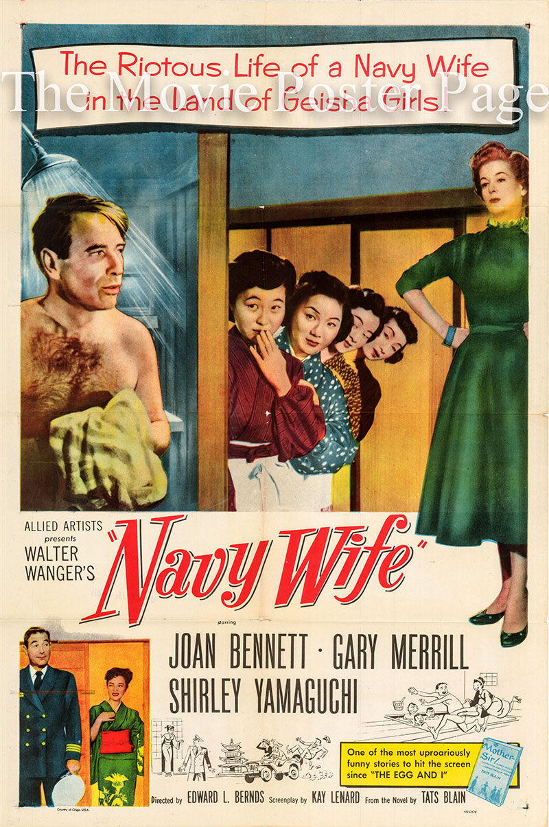 Pictured is a US one-sheet poster forthe 1956 Edward L. Bernos film Navy Wife starring Joan Bennett.