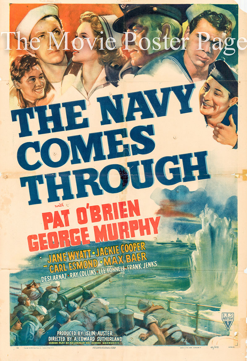 Pictured is a US one-sheet poster for the A. Edward Sutherland film The Navy Comes Through starring Pat O'Brien.
