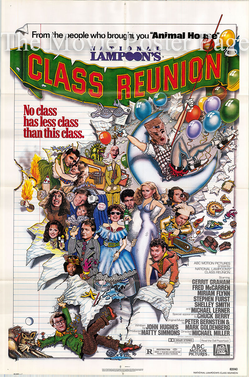 Pictured is a US one-sheet poster for the 1982 Michael Miller film National Lampoon's Class Reunion starring Gerrit Graham.
