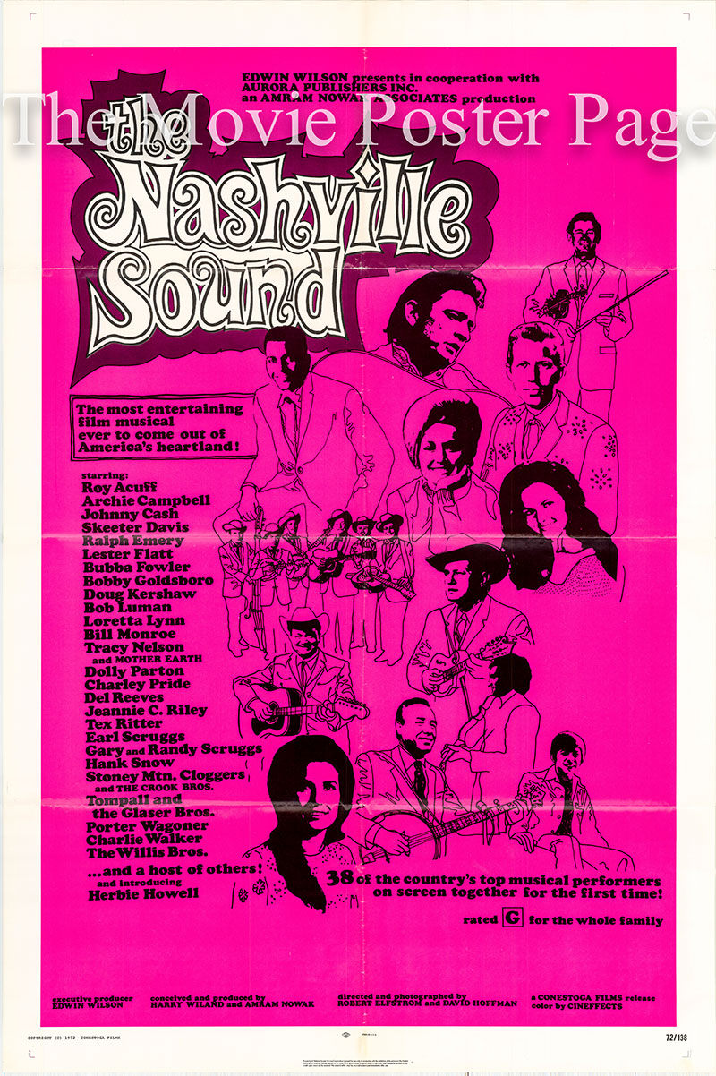 Pictured is a US one-sheet poster for the 1970 Robert Elfstrom and David Hoffman film The Nashville Sound starring Roy Acuff and other country music artists.