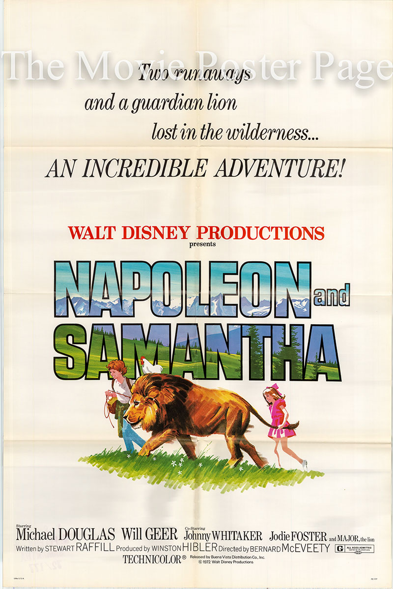 Pictured is a US one-sheet poster for the 1972 Bernard McEveety film Napoleon and Samantha starring Michael Douglas.