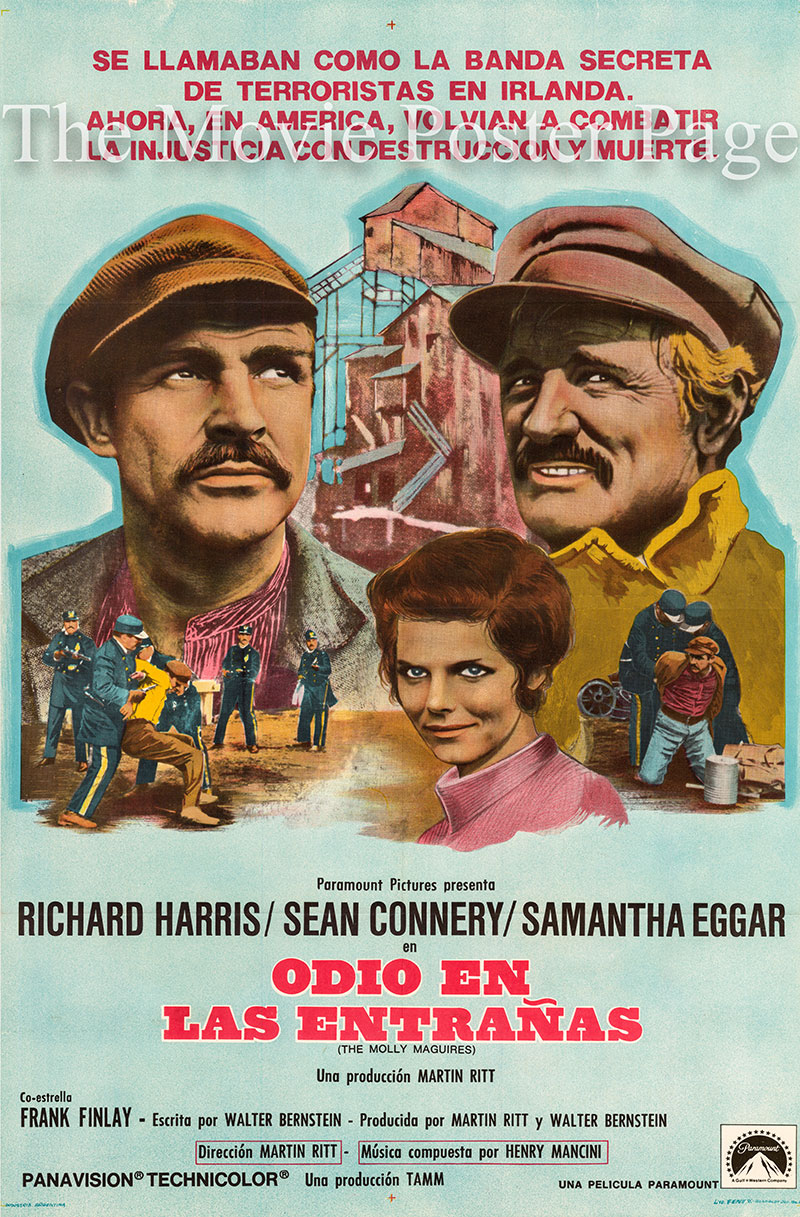 Pictured is an Argentine promotional poster for the 1970 Martin Ritt film the Molly Maguires starring Sean Connery as Jack Kehoe.