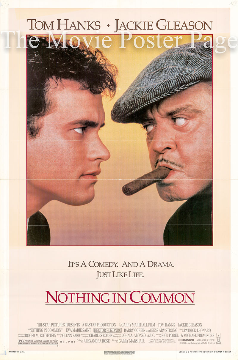 Pictured is a US one-sheet poster for the 1986 Garry Marshall film Nothing in Common starring Tom Hanks.