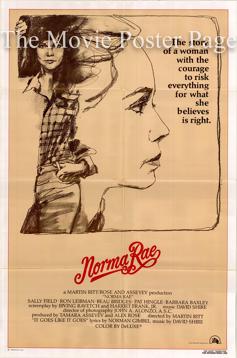 Pictured is a US one-sheet poster for the 1979 Martin Ritt film Norma Rae starring Sally Field.