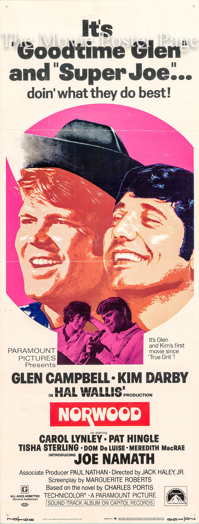 Pictured is a US insert poster for the 1970 Jack Haley Jr. film Norwood starring Glen Campbell.