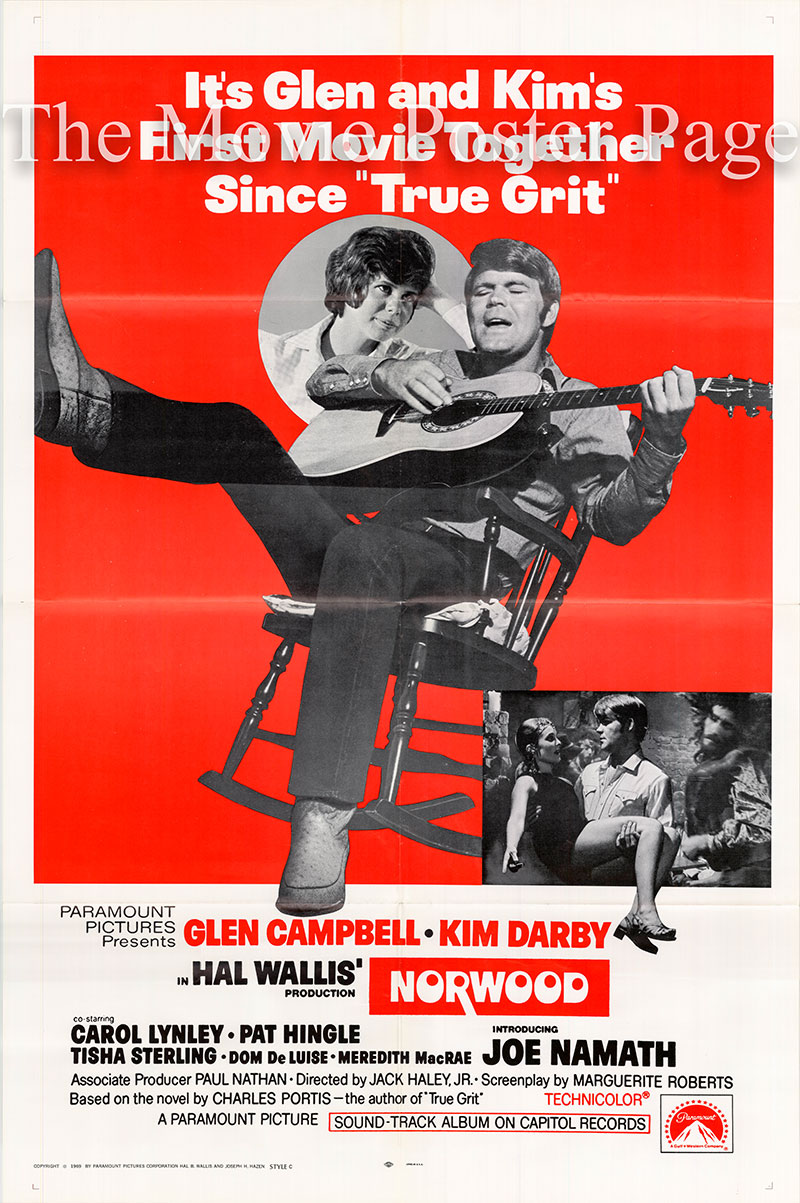 Pictured is a US one-sheet poster for the 1970 Jack Haley Jr. film Norwood starring Glen Campbell.