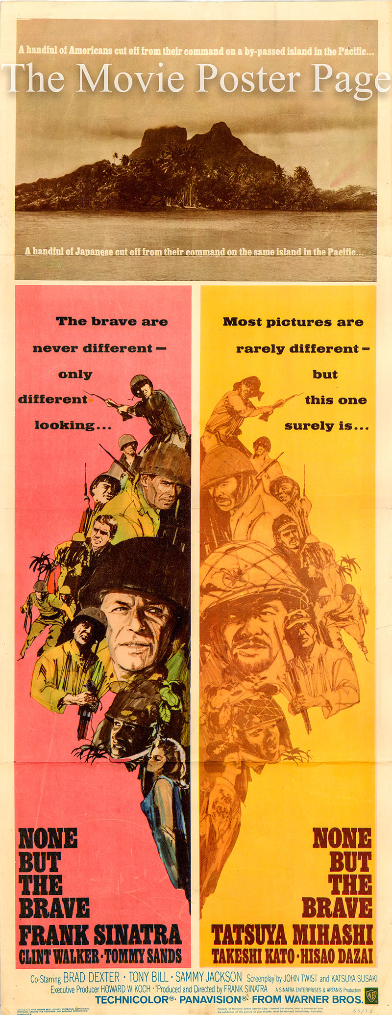 Pictured is a US insert poster for the 1965 Frank Sinatra film None but the Brave starring Frank Sinatra as Chief Pharmacist Mate.